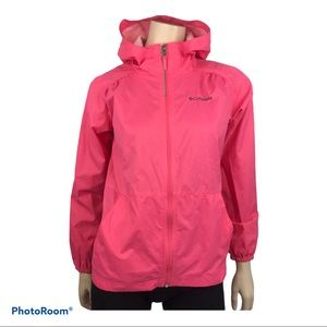 Columbia Acess Point Pink Hooded Packable Raincoat
